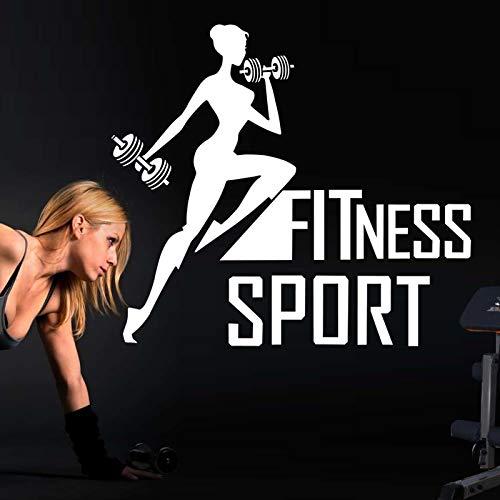 Njuxcnhg Sport Gym Aufkleber Fitness Girl Crossfit Hantel Aufkleber Bodybuilding Poster Vinyl Wandtattoos Dekor Wandbild Gym Aufkleber 58X65cm