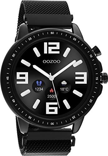 Oozoo Unisex Smartwatch mit Edelstahl Milanaiseband Schwarz/Schwarz 45 MM Q00309
