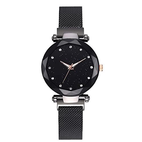 nJiaMe Las Mujeres de Lujo Relojes de Cuarzo Regalos del Cielo Estrellado imán Elegante Hebilla de Las señoras del Reloj de Reloj Negro Regalo