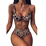 Traje de baño de una pieza de cintura alta sexy con estampado de leopardo y gancho en el pecho, traje de baño para mujer 1 38 cm