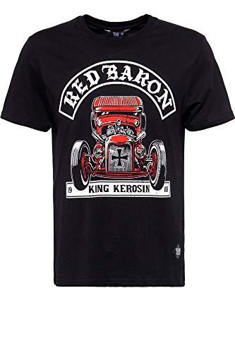King Kerosin Red Baron Camiseta, Negro, S para Hombre