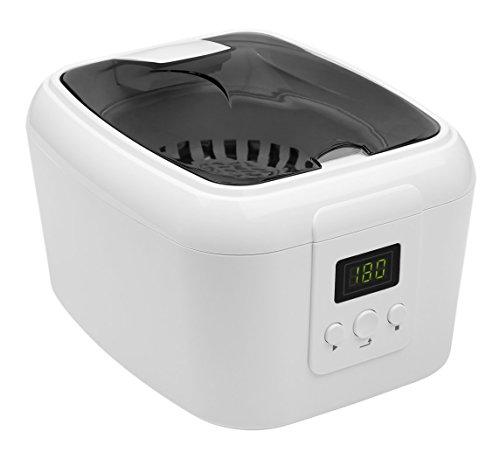 MEDION MD 18061 Ultraschallreiniger, 600 ml Kapazität, 5 Zeitprogramme, LED-Display, Kunststoffkorb, Uhrenhalter, CD-/DVD-Halter, weiß