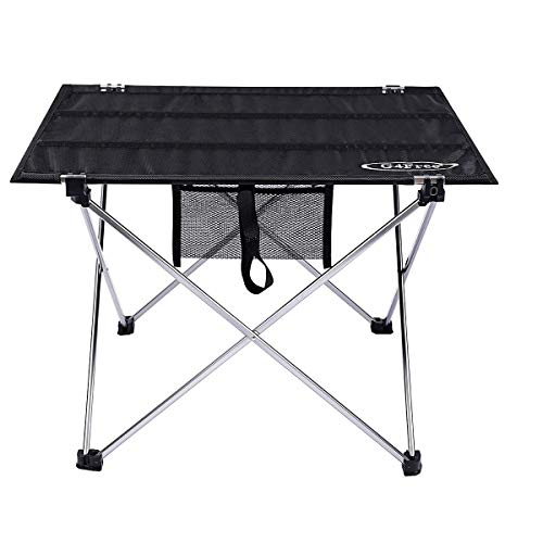 G4Free Ultralight Portable Folding Camping Table Compact Roll Up Tables with Carrying Bag for Outdoor Camping Hiking Picnic (Silver Large)