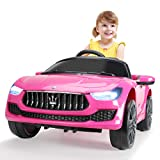JAXPETY 12V Kids Ride On Car, Battery Powered Electric Vehicle with MP3 Player, Remote Control, Pink