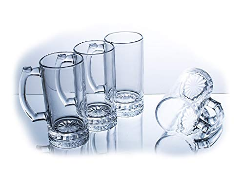 Beer Mugs Stein With Simple Chic Glass Design -15.4 Oz (Set of 4)