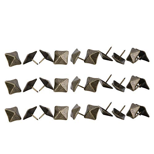 50 pezzi Spille antiche a testa quadrata, unghia per tappezzeria ciano chiodo a pressione in ferro bronzo scatola antica divano decorativo chiodi quadrati a chiodo a punta(19x20mm)