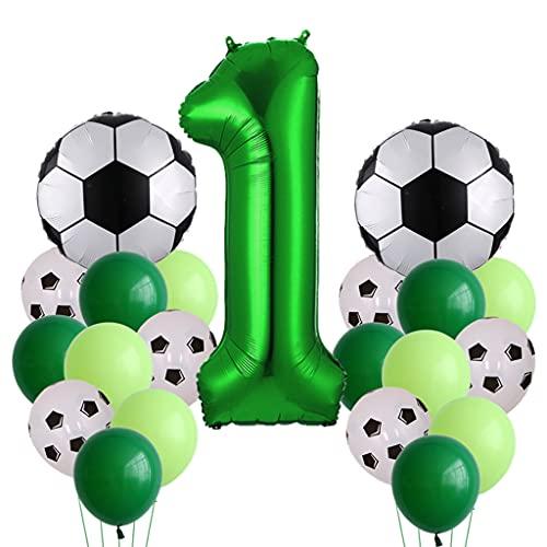 Globo de fútbol decorativo para cumpleaños de niños de 1 año, globo de fútbol, globo de fútbol, globo verde para fiesta temática de fútbol