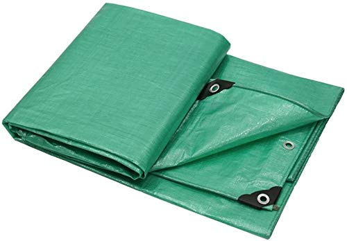 YUEDAI Thicken Waterproof Tarpaulin Tarp Ground Sheet Covers Tent Shelter Awning Shed Cloth Sun Protection Heavy Duty Reinforced, Multi Sizes, 160G/M² (Color : Green, Size : 5x5m)
