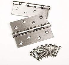 4 stuks SOTECH deurscharnier, RVS (roestvast), 100 x 75 mm, kogellagerscharnier, max. draagvermogen 50 kg