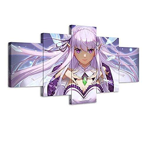 DEZYSDPLXD 5 Tafeln Wandkunst Gemälde HD-Druck 5 Leinwandbilder bilden EIN Gemälde, das für Heimdekoration und Poster verwendet Wird. Anime-Mädchen Emilia Ray: Von Grund auf mit (150x80cm Rahmenlos)