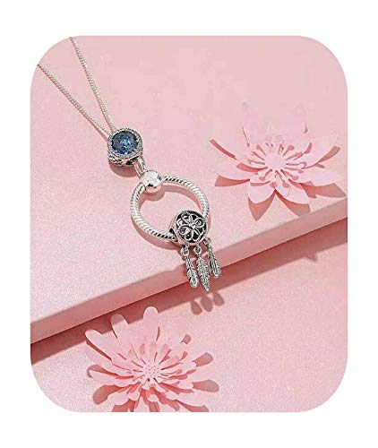 BSbattle Collar de plata de ley 925 100 % con colgante de letra O para mujer 60cm,3.5cm