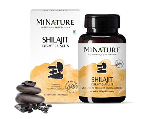 Shilajit Capsules - Non GMO Extract by mi nature | 180 Veg Caps | Promotes Vibrant Energy & Vitality| 1000 mg | 100% Only Shilajit Extract Capsules | Fulvic Acid