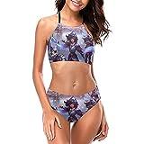 Braum Conjunto de bikini halter para mujer sexy traje de baño de secado rápido 2 piezas acolchado ropa de playa