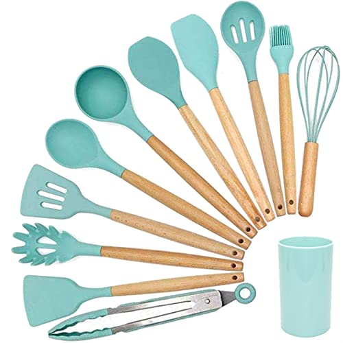 Silicone Cooking Utensil Set Wooden Handle Spatula Soup Spoon Brush Ladle Pasta Colander Non-Stick Cookware Kitchen Tools (Color : 11pcs with Storage B)