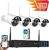Wireless Security Camera System, NexTrend 8 Channel 1080P Home Video Surveillance System, 4 960P(1.3 MP) Waterproof Security Cameras, 1TB Hard Drive, Plug Play Indoor Outdoor Security Camera System