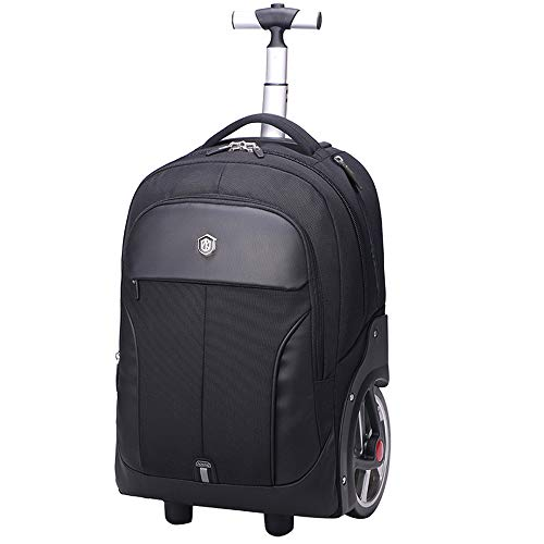 FREETT Travel Trolley Backpack, Wheeled Backpack for Boarding, School, University, Boarding, Trolley Suitcase with Overnight Compartment, 54cm, 48 L,Black