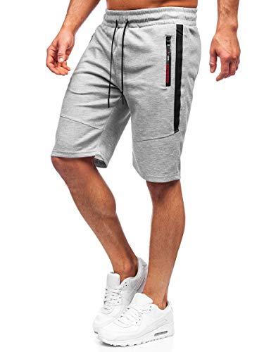BOLF Hombre Pantalón Corto Deportivos Shorts Bermudas Básicos Pantalón Corto de Fitness Print Entrenamiento Gimnasio Deporte Outdoor Ocio Estilo Urbano Must JX137 Gris XL [7G7]