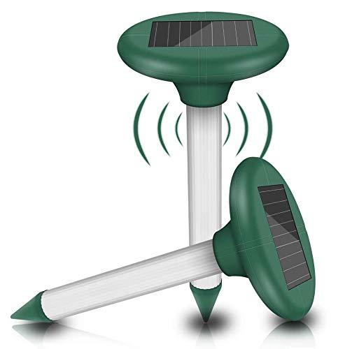 2 Stück Solar Maulwurfabwehr, Ultrasonic Solar Maulwurfschreck, Maulwurfbekämpfung, Wühlmausschreck, Mole Repellent, Schädlingsbekämpfung mit IP65 für Den Garten