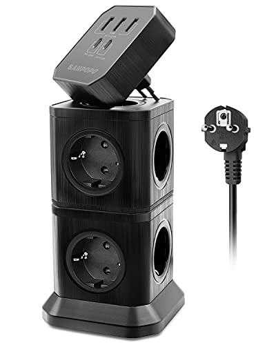 Steckdosenleiste Mehrfachsteckdose 8 Fach Steckdosenturm (2500W/10A) mit 3 USB-A und 2USB C 18W Schnellladung Abnehmbare Steckdose ,2m Kabel Überspannungsschutz und Kurzschlussschutz