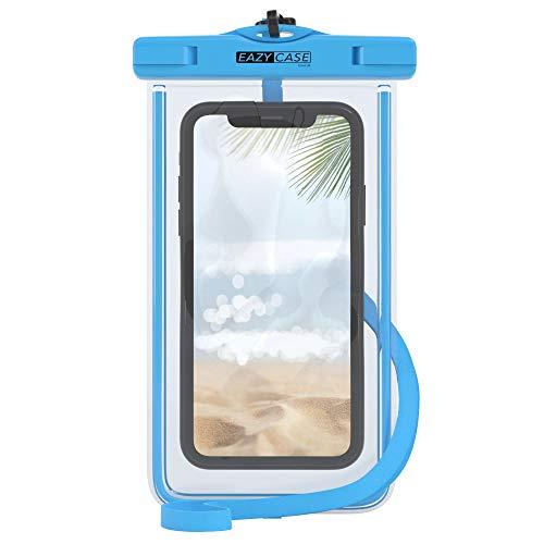 EAZY CASE wasserdichte Handytasche für Alle Smartphones bis 6 Zoll, schützt vor Staub, Sand, Schnee, Dreck, Wasser I Schutzhülle mit Umhängeband, IPX8 Zertifiziert, Transparent/Hellblau