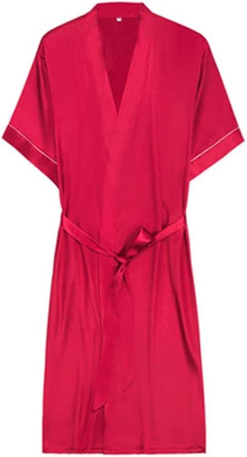 DEWUFAFA Men's Summer Luxury Kimono Soft Satin Robe Short Sleeve Pajamas Printed Bathrobe Kimono Bathrobe (Color : Red, Size : XX-Large)