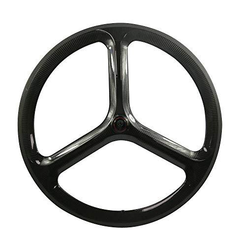 JIMAITEAM Fixed Gear 700c Carbon Tri Spoke 3-Spoke Rim Front & Rear Fixed Gear Road Single Speed Fixie Bike Bicycle Wheelset 50mm Depth Clincher 23mm Width Track Bike Wheel (Fixed Gear Bike, 1 Pair)