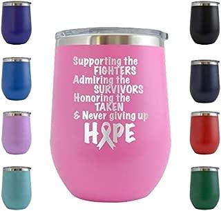 Breast Cancer Awareness Design 3 - Engraved 12 oz Stemless Wine Tumbler Cup Glass Etched - Birthday Gift Ideas for, her, mom, wife Breast Cancer Awareness Pink Ribbon Survivor (Pink - 12 oz)