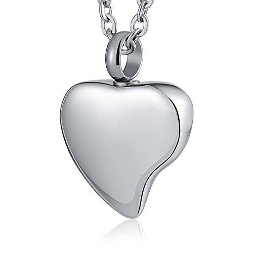 Epinki Collar Urna Acero Inoxidable Plata Amor Corazón Colgante Urna para Cenizas Cremación Recuerdo Collar