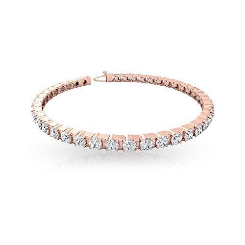4.66Ct IDCL Certified Moissanite Gold Statement Bracelet, DEF-VS1 Color Clarity Gemstone Wedding Bridal Bracelet, Stackable Tennis Bracelet for Women 10K Rose Gold 6 Inches