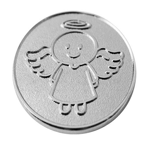 EnerChrom Schutzengel Smiling Paul - Münze 1 Stück - 2,3cm Silber - Metall Einkaufschip Engel Glücksbringer - no Plastic