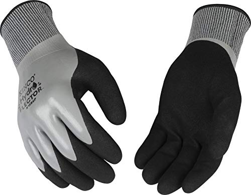 Kinco - Hydroflector Lined Waterproof Nitrile Work Gloves, Extra Warm 15-Gauge Acryllic Knit Shell with 7-Gauge Soft Thermal Lining, Sandy Nitrile Palm Grip, Fitted Knit Wrist, (Style No. 1886P)