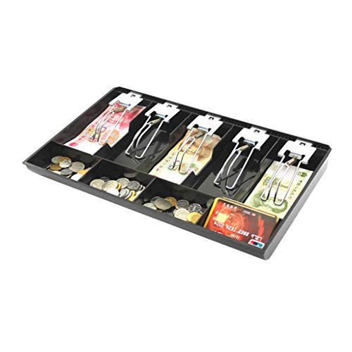 Ixkbiced Caja de Almacenamiento de Dinero de Monedas de plástico Negro de 9 Rejillas Organizador de Bandeja de Efectivo con 5 Clips de Metal extraíbles