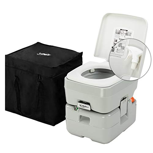 VINGLI Upgraded 5.5 Gallon Portable Camping Toilet w/Carrying Bag & Sprayer, Splash-Free Dumping, Anti-Leak Water Pump, Large Capacity Waste Tank for RV/Boat/Truck/Healthcare