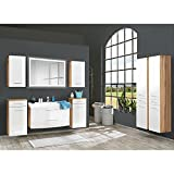 Lomadox Badmöbel Set 8-teilig, Hochglanz weiß und Wotaneiche, Badezimmer Komplettset: LED-Spiegl mit Touchfunktion, Waschtisch mit Unterschrank, 100cm Waschbecken, Schubladen und Türen mit Softclose