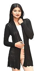 Otia Womens Net Long Sleeves Shrug(OT_woolen_Shrug, Black, Free Size)