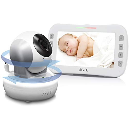 "Video Baby Monitor 5.0"" LCD Screen, High Resolution, Remote Pan/Tilt Camera (360Deg), Temperature Detection, WHITE AND GREY Categories"