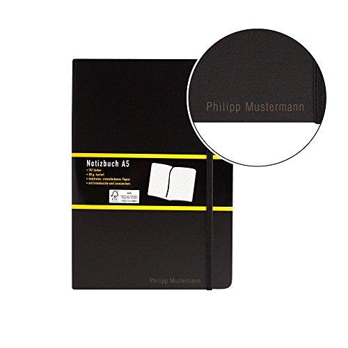 Notizbuch kariert - schwarz - A5 - mit Namen/individueller Gravur