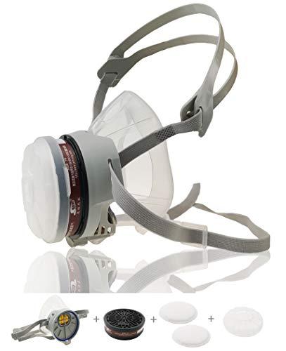 Half Face Reusable Respirator Spray Paint Gas Mask Respiratory Protection Multi-Purpose Respirator,Medium(Mask+1 Pack Cartridge)