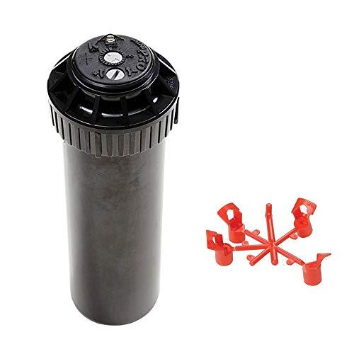 5 x Aspersor de turbina Pop-Up 1/2' MINI-PRO Rain con 20 boquillas de repuesto gratis. Ajustable hasta 360 °. Cubierta de goma. Amplia compatibilidad de cabezales. Mecanismo antiatascos.