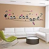 QWERGLL Etiqueta de la Pared Los pájaros cantan la canción Música del...