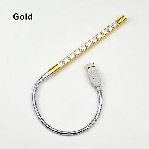 LSWL Metal Material 10LEDs Flexible USB-Schreibtischlampe LED-Tischleuchten Tischleuchte Biegsame PC Energien-Bank-Laptop Lesen Schutz Augen (Color : Gold)