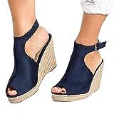 2019 Verano Primavera Zapato Con Cuña Plataforma, Sandalias De Vestir Boda Fiesta Bailarinas Alpargatas Zapatillas Peep-Toe Calzado Para Mujer De Talla Grande(Azul oscuro, 36 EU)