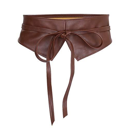 KYEYGWO Breiter Obi Gürtel zum Schnüren, Damen Taillengürtel Mode Wickelgürtel Bindegürtel Hüftgürtel für Kleid, Mäntel und Trenchcoats, Braun