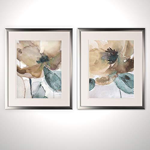 WEXFORD HOME Watercolor Poppy-2 Piece Set-Silver Frame Art Print, 16x20