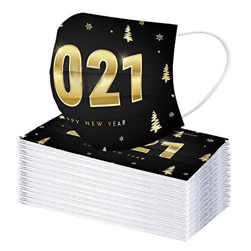 3-lagige Einweg-Weihnachtsgesichts Mæske, Unisex 2021 für Erwachsene Frohes Neues Jahr Atmungsaktive, weiche, Bequeme Gesichtsschutz-Bandanas, bestes Neujahrs_Geschenk für Familie und Freund