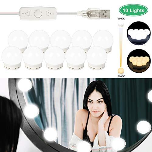 LED Spiegelleuchten, LED-Kosmetikspiegel Leuchten-Kit im Hollywood-Stil mit 10 dimmbaren Lampen, USB-Kabel-Kosmetikleuchten für Spiegel mit verschiedenen Farbmodi und 5 einstellbarer Helligkeit