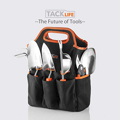 TACKLIFE Garden Tool, with 6 Pieces Tools set and Storage Tote Bag, Hard Stainless Steel, Non-slip Rubber Grip, Ideal Outdoor Garden Gift for Parents | GGT4A