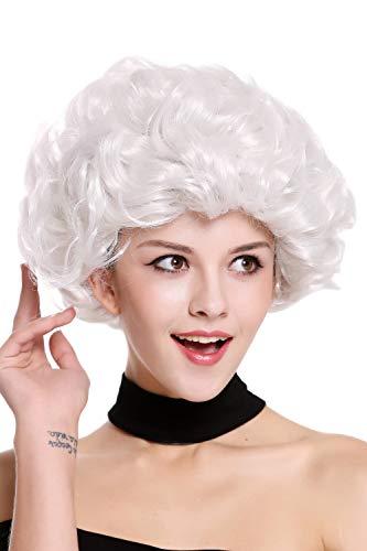 WIG ME UP - 91097-ZA68C Perücke Damen Karneval Fasching Weißgrau Weiß Locken kurz Oma Großmutter ältere Dame