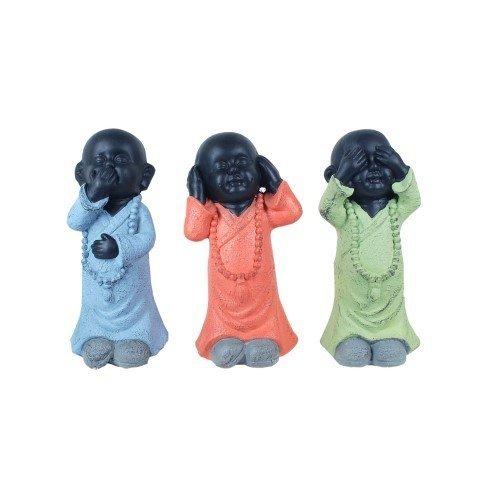 CAPRILO Set de 3 Figuras Budistas Decorativas de Resina Niños Budas No...