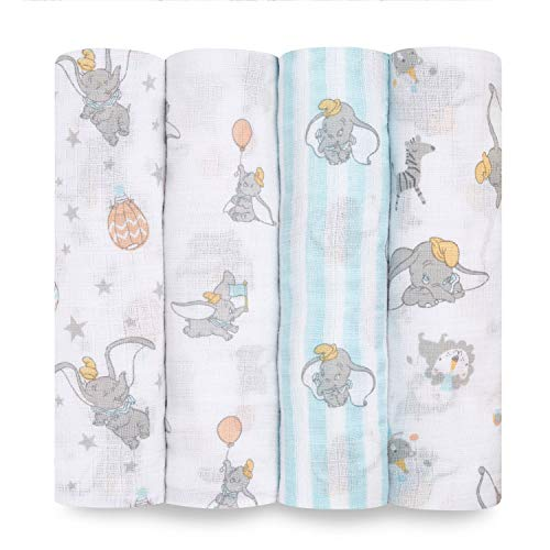 aden + anais Aden Swaddle Blanket, Muslin Blankets for Girls & Boys, Baby Receiving Swaddles, Ideal Newborn Gifts, Unisex Infant Shower Items, Wearable Swaddling Set,4 Pk, Dumbo New Heights